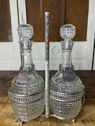 Vintage Mcm Rye And Scotch Decanter Bottles Chrome Caddy Clear Glass Hang Tags Bar