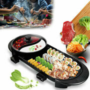 1800w Electric 2 In 1 Hot Pot Barbecue Grill Non-stick Teppanyaki Pan Soup Us