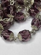 † Vintage Sterling Double Capped Purple Crystal Rosary Necklace 31 44.29 Grms †