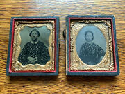 Lot Of 2 Antique Tintype Photographs 1/9th Plate Portraits Women Cases