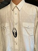 Roper Western Pearl Snap Button Up Shirt Mens 2xl Steer Off White Nwt
