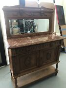 Antique English Sideboard Heavy Oak With Marble And Mirror, Brass