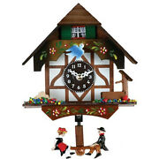 River City Clocks Quartz Novelty Clock - German Chalet With Bird And Well - 6 Inch