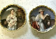 Rare Museum Quality Greuze Pair Limoges Wall Chargers Signed L. Albert