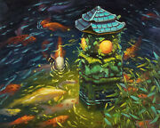 Stone Lantern With Koi Fishes Original Artwork Oil Painting Fantasy 16and039and039x20