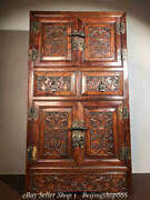 32 Old Chinese Huanghuali Wood Carving Dynasty Bat Drawer Cupboard Cabinet