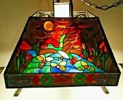 Artist Signed Stained Glass Lamp Ducks Water Fowl Outdoors Rondels Beautiful