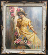 1960s Italian Impressionist Oil Painting Of Elegant Lady By Pino