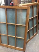 Four Oak Vintage Architectural Salvage Privacy Glass Windows Old School 33x48