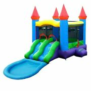 Inflatable Bounce House Water Slide Pool Pogo Red Blue Blow Up Dual Lane Combo