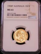 1908p Australia Gold Sovereign Ngc Ms63 Bright Great Luster Just Graded Pq G365