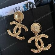 Authentic Receipt New  sold Out Cc Gold Drop Crystal Logo Dangle Earrings