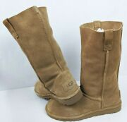 Ugg Women Size 7 Light Brown Classic Unlined Tall Suede Perforated Boots 1016853