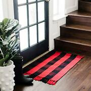 And Black Buffalo Plaid Rug I Machine Washable Front Door Mat | Farmhouse Red