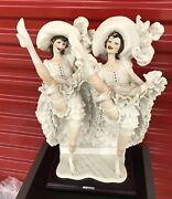 Rare Signed Guiseppe Armani French Can Can Dancers Porcelain 20 Figurine Italy