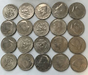 R33- - Mixed Circulated Kennedy Roll 20 Coins In Lot.