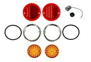 United Pacific Led Sequential Tail/marker Light/bezel Set 1955-1959 Chevy Truck