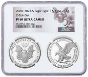 2pc 2021 S Proof American Silver Eagle Type 1 And Type 2 Ngc Pf69 Uc Reverse Label