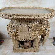 Vintage Wicker Elephant Side End Table Plant Stand Removable Tabletop Boho Chic