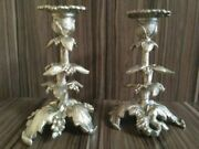 Vintage Two Pcs Beautifull A Large Bronze Candlesticks Hand Carving Garnished
