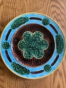Antique Beautiful 1880and039s Majolica Italia Leaves And Ferns Design Plate + History