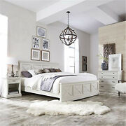 Seaside Lodge King Bed Night Stand And Chest Hand Rubbed White King Set