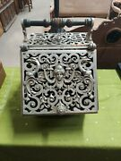 Antique Victorian Fireplace Coal Hod Or Scuttle With Nickel Sculpture