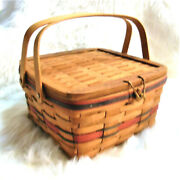 1991 Longaberger American Pie Crisco Basket Leather Hinged Wooden Lid And Toggle
