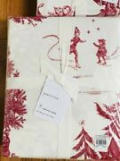 Pottery Barn Santa Toile Sheet Set Red Queen Christmas Holiday 4pc