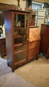 Antique Side By Side Curio Secretary Cabinet Circa Late 1800and039s
