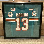 Dan Marino Signed Dolphins Jersey Framed + Double Matted 36''x34x 1 1/2 Coa