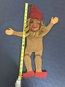 Vintage Spielzeug Big Wooden Pull String Puppet Troll Doll Hand Carved 20
