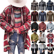 Mens Winter Long Sleeve Knitted Sweater Coats Jacket Jumper Pullover Casual Top