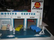 Marx 1960's Westgate Tin Gas Station Playset W/8 Cars And 6 People