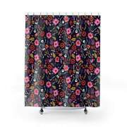Punk Glam Goth Halloween Skeleton Pink And Purple Floral Shower Curtain