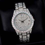 Gorgeous Baguette And Round Cut Shiny Cubic Zirconia In Solid 925 Silver Men Watch