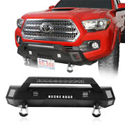 Front Bumper W/ Led Light Bar And License Plate Mount For Toyota Tacoma 2016-2021