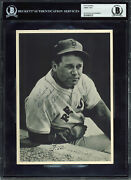 Red Sox Jimmie Foxx Best Wishes Authentic Signed 6.5x9 Photo Bas Slabbed