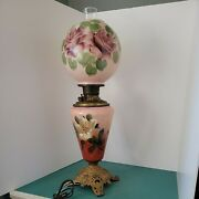 Antique Bandh Gwtw Bradley Parlor Banquet Oil Lamp Gone With The Wind Globe Shade