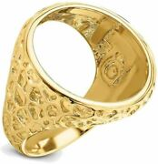 14k Yellow Gold Polished Mens Carved Nugget-style 21.6mm Coin Bezel Ring