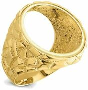 14k Yellow Gold Polished Mens Nugget-style 21.6mm Coin Bezel Ring