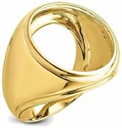14k Yellow Gold Mens Comfort Fit Concaved 21.6mm Coin Bezel Ring