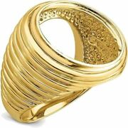 14k Yellow Gold Mens Comfort Fit Coil Design 21.6mm Coin Bezel Ring