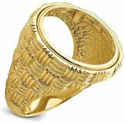 14k Yellow Gold Polished Mens Woven Design 17.8mm Coin Bezel Ring