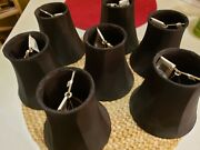7 New Black Chandelier Lamp Shades Faux Silk Fabric Clip On Bell Shape