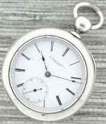 Antique 18 Size Rockford Illinois Key Wind Pocket Watch Dueber Heavy Coin Silver