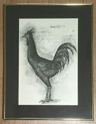 Framed Midcentury Bernard Buffet Print Rooster Le Coq Signed In Plate 1953 Euc
