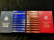 1999-2008 Silver And Regular Proof Sets Includes Storage Boxes