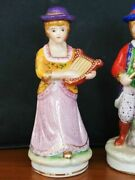 Vintage Beautifull Small Porcelain Figurines Pair Stamp Fine Porcelain Hand Made