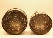2 Old Punched Tin Molds Vintage Primitive Perforated Sieve Cheese Strainer